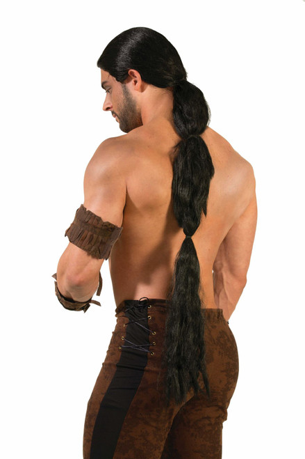 black Long Ponytail Wig Medieval Renaissance Fantasy  Game of Thrones adult mens Halloween costume accessory