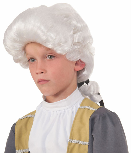 white Deluxe Colonial George Washington Thomas Jefferson American Revolultion child boys Halloween costume accessory