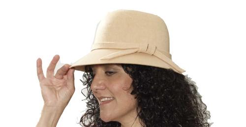 beige 20's Flapper Hat decades adult womens Halloween costume accessory
