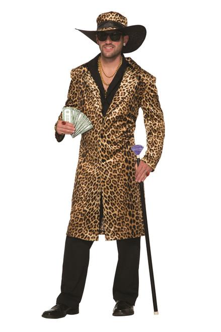 Funky Leopard Pimp Jacket and Hat Mens Costume Standard Size