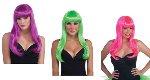 Neon Long Club Candy adult womens Halloween costume WIG accessory
