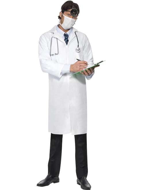 Doctor Costume Long Coat and Mask Mens Halloween