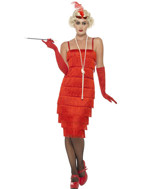 1920's Red Flapper Fringe Dress Adult Womens Halloween