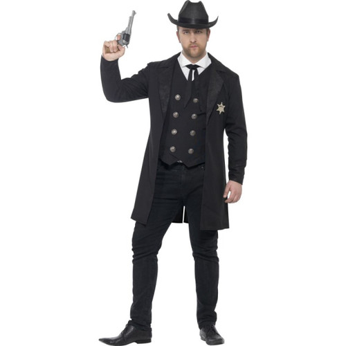 Mens Sheriff Costume Black Halloween
