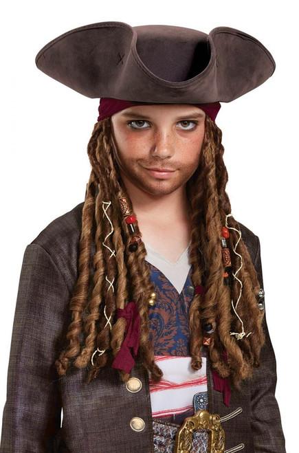 Child Captain Jack Sparrow Potc5 Pirate Hat Bandana & Dreads