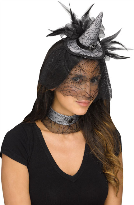Mini Witch Hat Fascinator Choker Halloween Costume Accessory