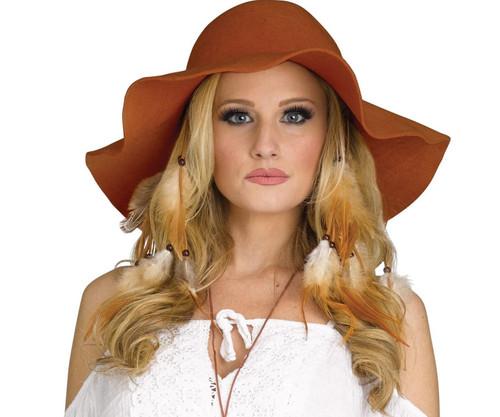 Hippie Girl Brown Floppy Hat 60s 70s Halloween Costume Accessory