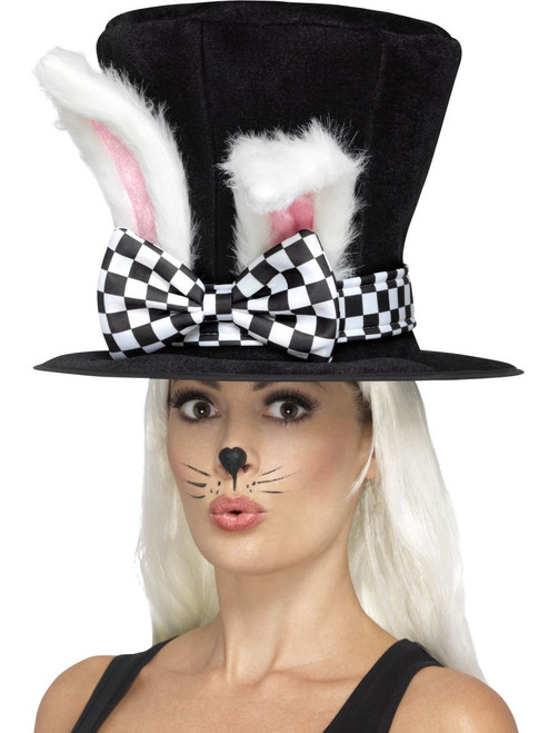 Tea Party March Hare Top Hat Black White Attached Rabbit Ears Alice in Wonderland