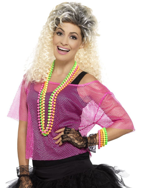 Adult Neon Pink Fishnet Top 80s Halloween Costume Accessory