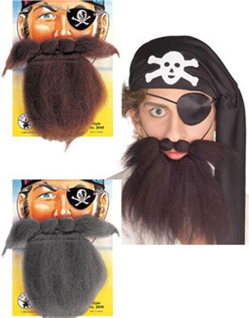 Pirate Beard & Moustache Set adult mens Halloween costume accessory