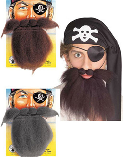 Pirate Beard & Moustache Set adult mens Halloween costume accessory