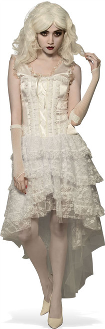 Bright White Lace corset Dress adult womens Halloween costume witch zombie goth