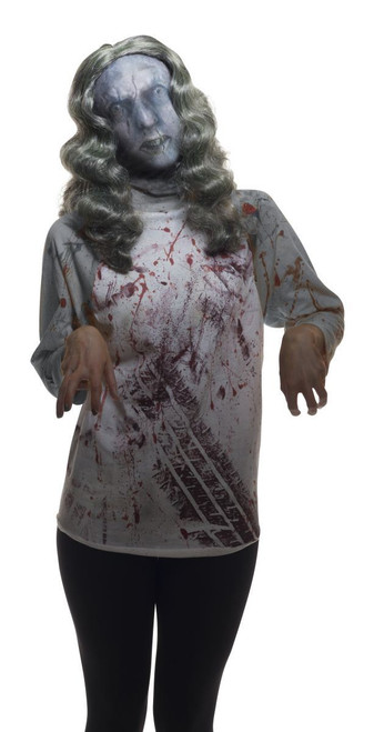 Female Zombie Mask with Wig adult womens Halloween costume accessory