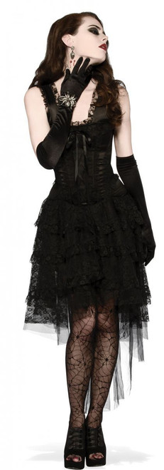Black as Night Lace corset Dress adult womens Halloween costume witch gothic