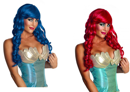 Mermaid Wig long curl ringlets adult womens Halloween costume