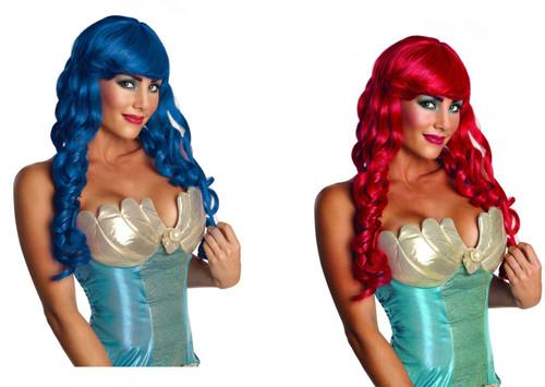 Mermaid Wig long curl ringlets adult womens Halloween costume