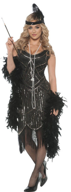 Gatsby Girl Costume Roaring 1920's Black Flapper Dress Womens