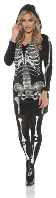 Womens Skeleton Skeletal Hoodie Dress Costume