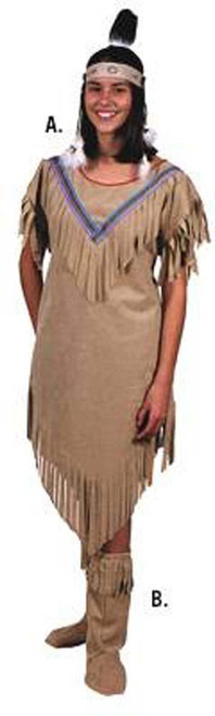 brown INDIAN MAIDEN pocahontas non native womens adult halloween costume S 6 8