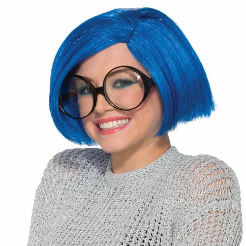 Inside Out Sadness Blue Bobbi Wig Adult Womens Halloween Costume Accessory