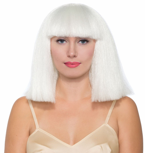 White Sia Lady Gaga Wig Adult Womens Halloween Costume Accessory