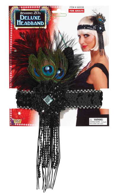 PEACOCK FLAPPER HEADBAND headpiece 20's feathers  gatsby theme costume party