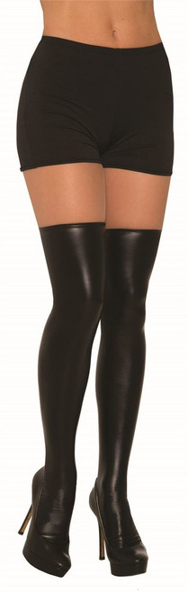 Liquid Faux Leather Look Womens Black Knee Highs Costume Accessory