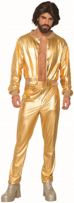 Disco Singer Shiny Gold Lame 70s vintage mens retro halloween costume