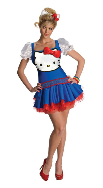 Blue Hello Kitty Adult Womens Costume