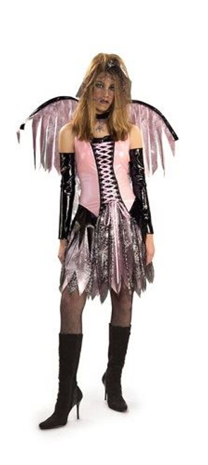 Spider Web Gothic Fairy Pink Girls Costume