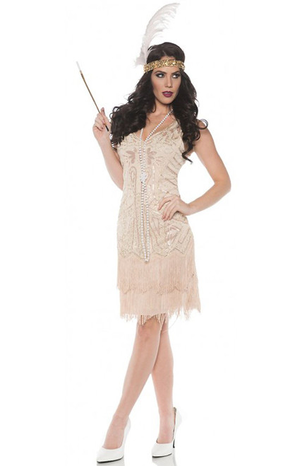 Rose Fully Beaded Flapper Dress Adult Costume
