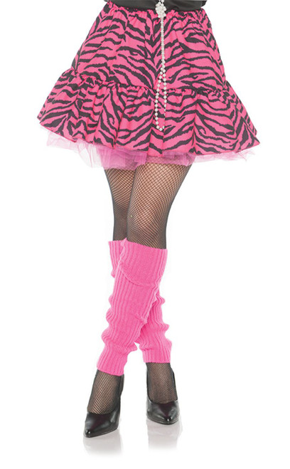 80's Zebra Skirt Pink Black Womens Halloween Costume Accessory