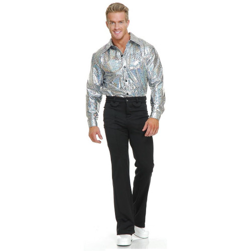 Mens Silver Glitter Disco Shirt