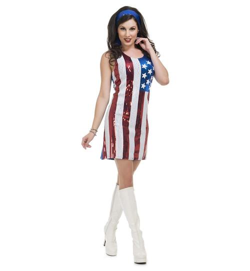 American Flag Sequin Dress Adult Womens Costume
