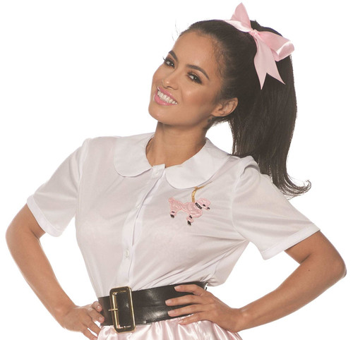 White 50s Womens Adult Costume Poodle Shirt