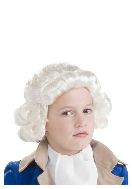 Child Colonial Boy White Wig George Washington