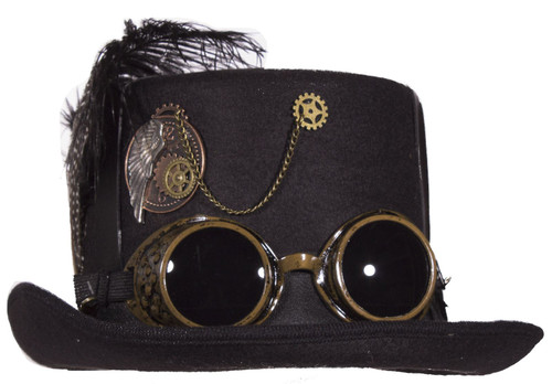 Black Deluxe Felt Steampunk Top Hat With Straps On Crown And Goggles