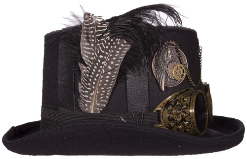 Black Deluxe Felt Steampunk Top Hat With Straps On Crown And Goggles e52cfdf039ae