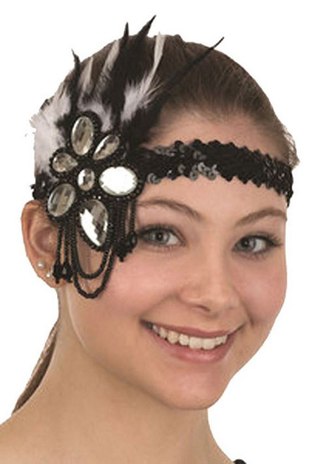 Flapper Sequin Headband Feathers & Jewels