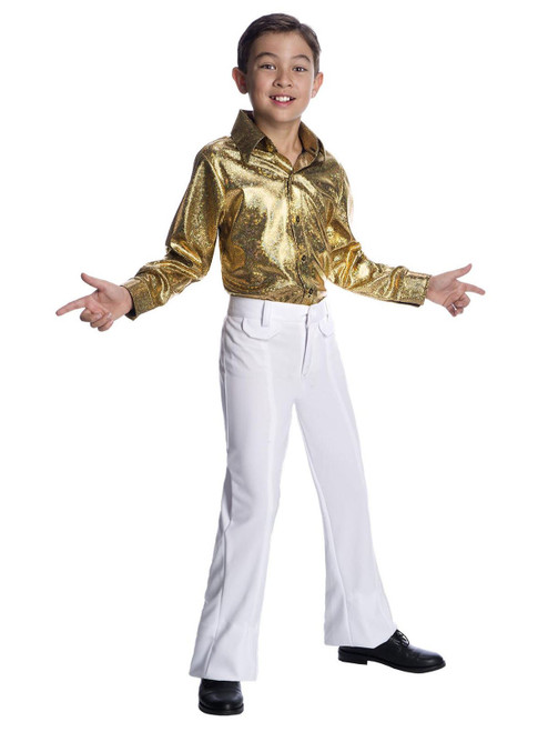 Boys hologram gold disco shirt