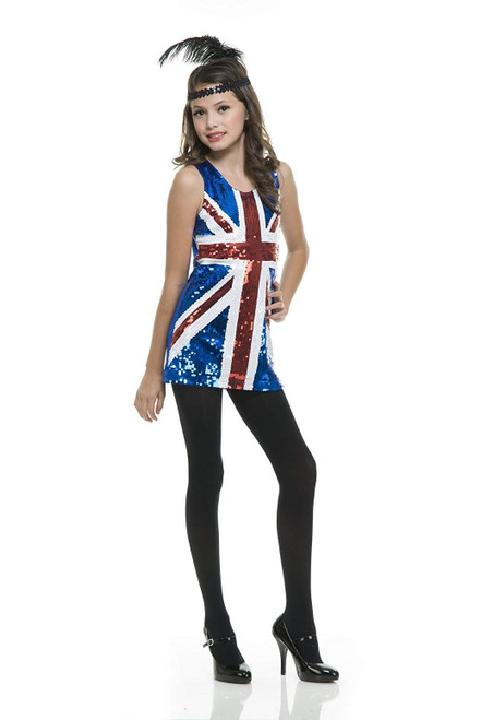 Charades British Sequin Girl's Costume Dress