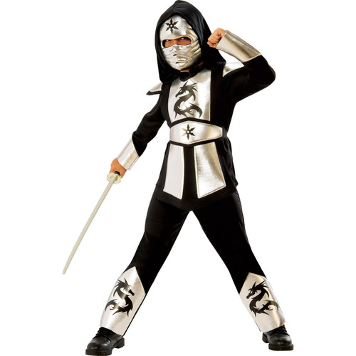 Kids Silver Dragon Ninja Halloween Costume