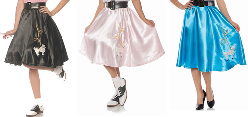 Womens 50s Satin Poodle Skirt Sock Hop
