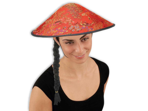 Coolie hat with braid asian hat unisex adult costume accessory hat