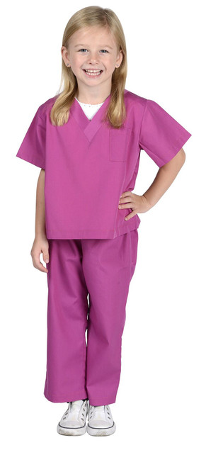 Jr. SCRUBS Fuchsia doctor dr. surgeon physician girls halloween costume SMALL 4-6