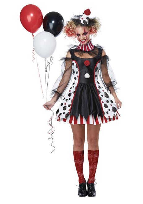California Costumes 01435 Womens Creepy Clown Costume Halloween Horror Scary Dress