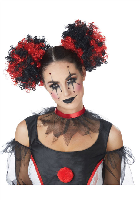 Black and Red Clown Puffs Hair Clip-On Costume Accessory