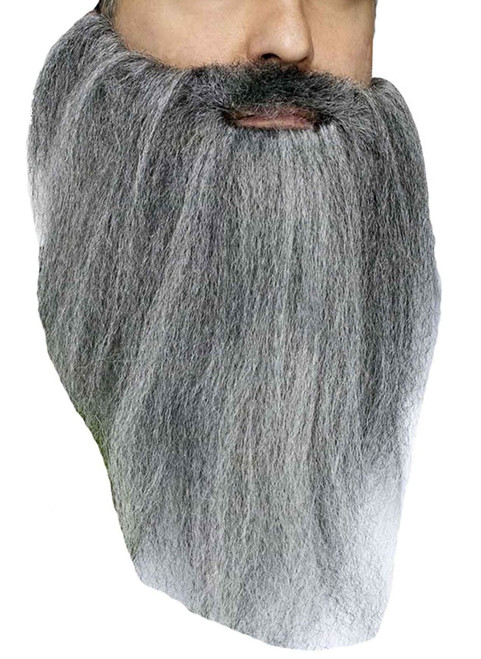 Full Crimped Mustache Beard Biker Costume Old Man Duck Hunter Gray Grey Mens