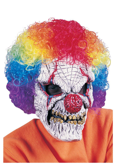 Clown Mask with Wig Costume Accessory
