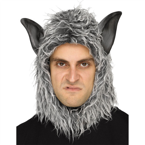 Grey Wolf Open Face Hood Werewolf Adult Costume Accessory Animal Fun Fur